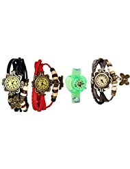 ANALOG KIDS WATCH WITH HELLO KITTY CARTOON PRINTED ON DIAL AND STRAP WITH 3 WOMEN BRACELET WATCH-SET OF 4 - B01BGGUJ8E