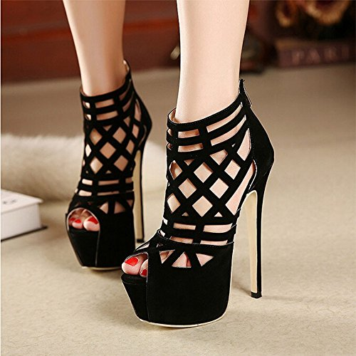 Fashion Week stunning 16CM super beautiful high-heeled sandals Thin Heels sexy Cut-Outs women shoes (9)