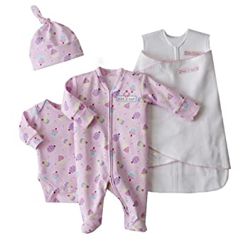 HALO 4-Piece Cotton Layette and Swaddle Set, Pink Cupcake, Preemie