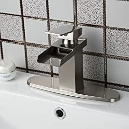 OUBONI Single Handle Bathroom Waterfall Nickel Brushed Finish Tap Mixer Faucet with Matched Color Hole Cover Plate