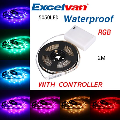 Excelvan 2M/6.6FT IP65 Waterproof Flexible Color Changing RGB SMD 5050 60 LEDs DC 5V Battery-powered LED Strip Light with Mini Controller (5v Led Light Strip compare prices)