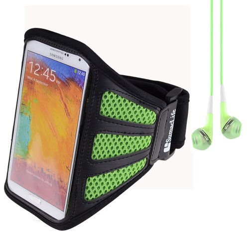 Sumaclife Running Sports Gym Mesh Armband For Samsung Galaxy Note 3 / Note 2 / S5 / S4 (Green) + Green Vangoddy Headphones With Mic
