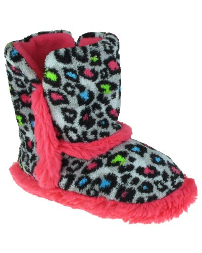 Cheap Capelli New York Leopard Printed Boot With Bunny Fur Trim Girls Indoor Slipper Grey Combo 10/11 (B005WUSPCI)