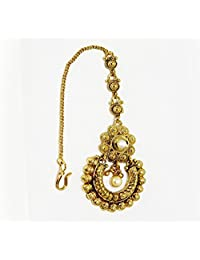 Traditional & Antique Gold Plated With White AD Stone And Beautiful Pearl Maang Tikka For Traditional Women Jewellery...