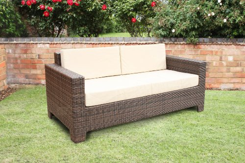 Cambridge Outdoor Rattan Garden Sofa in Brown All Weather Furniture