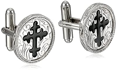 The Vatican Library Collection Men's Black Cross Cufflinks