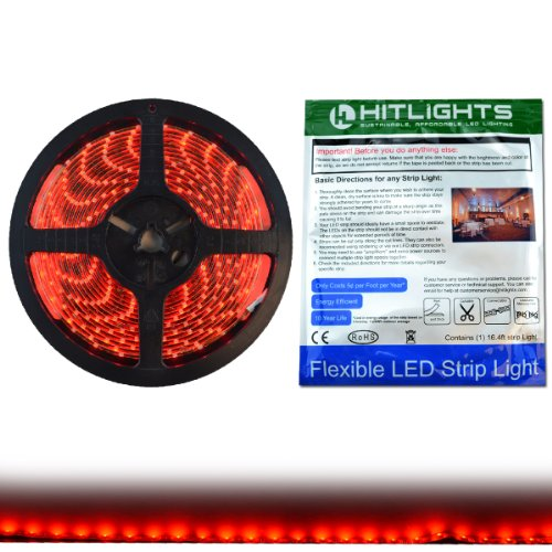 Hitlights Weatherproof Red Smd3528 Led Light Strip - 300 Leds, 16.4 Ft Roll, Cut To Length - 149 Lumens Per Foot, Requires 12V Dc, Ip65