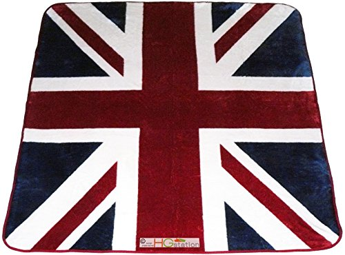 79x94 Large Queen United Kingdom UK Union Jack British Flag Great Britain England London Soft Faux Mink Plush Blanket (British Flag Bedding compare prices)