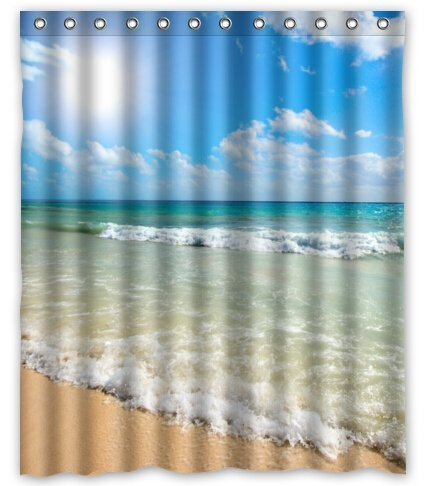 BravoVision Custom Summer Beach Blue Sea Palm Tree Sunshine Mildew-Resistant Antibacterial Waterproof Shower Curtain 60