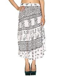 Beach Wear Rayon Casual Skirt White Calf Peacock Hand Block Printed By Rajrang