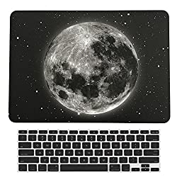 HWER 2 in 1 bundle Art Fashion Leatherette Top Surface Rubberized Snap-On Hard Cover Case for Apple MacbookPro 13.3 with Retina Display (Model: A1425/A1502)& Keyboard Cover,13.3 Retina,Earth Night