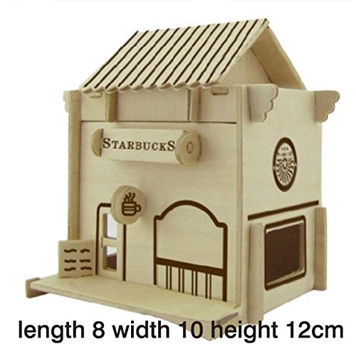 Thinkmax 3D Three-Dimensional Puzzle Wooden House Model,Children'S Educational Toys£¨Coffee House£© front-267160