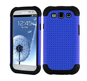 SOOPER Blue Mesh Defender Heavy Duty Protective Hard Full Body Cover Case for Samsung Galaxy i9300 S3 + Screen Protector (Blue Mesh Case)
