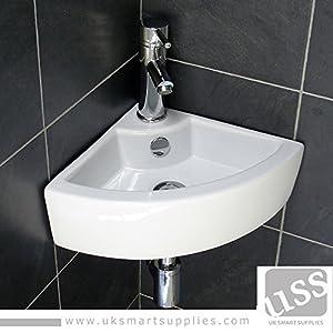 Small Corner Wash Hand Basins : Stylish and Modern Corner Small Hand Wash Cloakroom Basin/Sink -1 Tap ...