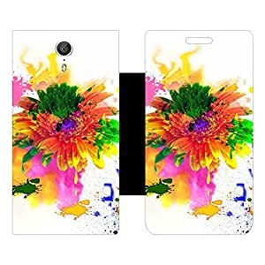 Skintice Designer Flip Cover with Vinyl wrap-around for Lenovo Zuk Z1, Design - Holi Flower