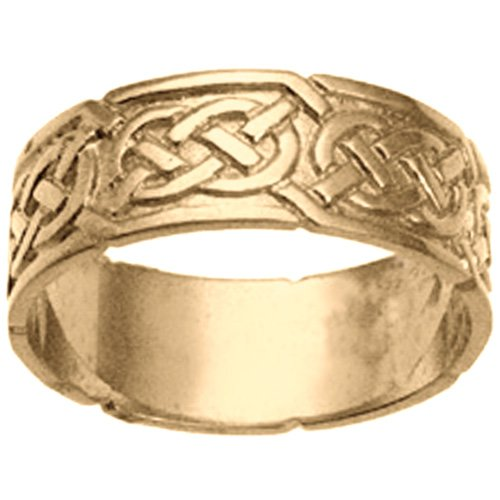 9ct Gold 8mm gents Celtic Wedding ring Size R