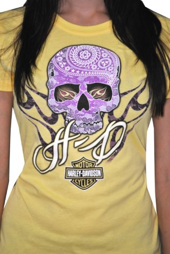 Harley-Davidson Womens Purple Skull Yellow Short Sleeve T-Shirt