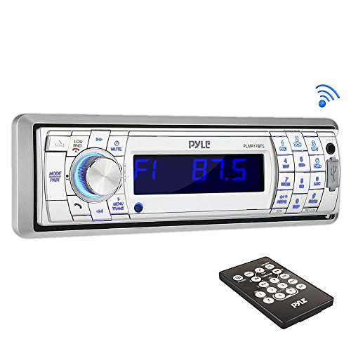 Pyle PLMR17BTS Bluetooth Stereo Radio Headunit Receiver, Wireless Streaming & Hands-Free Call Answering, Aux (3.5mm) MP3 Input, USB & SD Card Readers, Remote Control, Single DIN