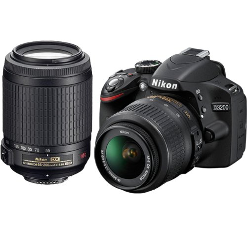 Nikon D3200 24.2 MP CMOS Digital SLR Camera with 18-55mm f/3.5-5.6G AF-S DX VR and 55-200mm f/4-5.6G ED IF AF-S DX VR Zoom-Nikkor Lenses