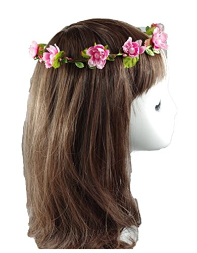 Flower Headband Garland Crown Festival Wedding Hair Wreath BOHO Floral Headband (Pink)