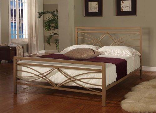 Golden Finish Full Size Bed Headboard Footboard Rails & Metal Slats