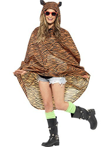 Tiger Party Poncho Fancy Dress Unisex Adult Costume