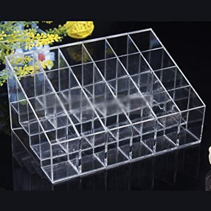 Wowlife-Acrylic-Trapezoid-Clear-Cosmetic-Stand-24-Lipstick-Organizer-Nail-Polish-Makeup-Case-Display-Rack-Holder-with-Wowlife-s-Pouch