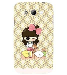 Printvisa Animated Girl Holding Teddies Back Case Cover for Samsung Galaxy Grand i9080:::Samsung Galaxy Grand i9082