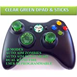 10 Modes! Clear Green D-pad, Thumb Sticks, Green Led! Black Xbox 360 Modded Rapid Fire Wireless Controller.
