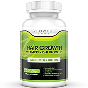Hair Growth Vitamins Supplement with 5000mcg of Biotin & DHT Blocking Ingredients - Packed with Essential Vitamins and Antioxidants that Address Deficiencies Shown to Cause Hair Loss and Baldness - 60 Vegetarian-Friendly Pills to Help Boost Hair Growth & Shine for Men and Women