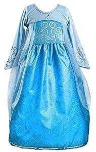 Princess Dress Blue Queen (Elsa from Frozen) Gown Dress-up (Large)