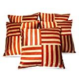 Zikrak Exim Cross Stripe Cushion Cover Rust/beige 5 Pcs Set 40 X 40 Cm