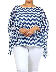 Avital Women's Plus Kimono Chevron ZIG ZAG Chiffon Blouse Shirt