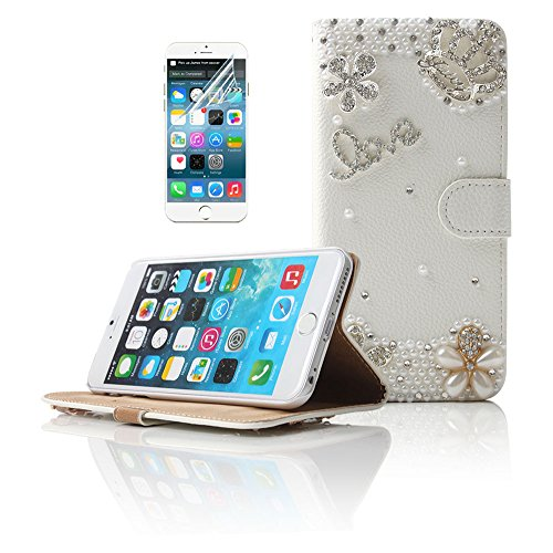 Boriyuan iPhone 6 Plus Case, Ultra Slim Stylish 3D Handmade Luxury Shining Glitter Bling Crystal Diamond Rhinestones Wallet Style Magnetic Protective Folio Flip PU Leather Case Cover for Apple inch iPhone 6 Plus 5.5 inch Smartphone, with Credit/ ID Card Holder Slots and Built-in Stand Function, Silvery Imperial Crown Love Flowers White Pearls