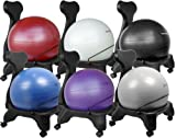"Isokinetics Inc. Brand Balance Exercise Ball Chair - Black 52cm Ball - Exclusive: Office size 60mm/2.5"" wheels (versus 50mm/2"" wheels used on other brands) - w/Exercise Ball Measuring Tape & Starter Pump"