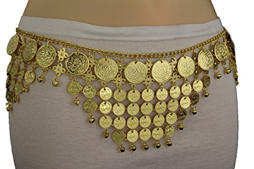 TFJ Women Fashion Metal Belt Hip Waist Chains Coin Charms Belly Dancing S M L Gold