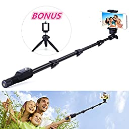 Professional Selfie Stick with Bluetooth Remote for Iphone Android Waterproof Monopod for Gopro & Digital Cameras