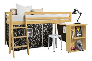 Cabin Bed with Desk in Army Design , PINE Bed with Tent PINE