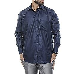 VinaraTrends Dark Blue Color Poly Cotton Shirt For Men