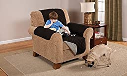 Deluxe Reversible Recliner Furniture Protector, Black / Grey
