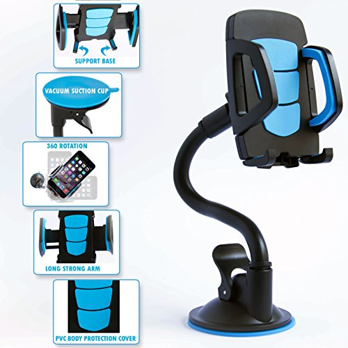 Universal Long Arm Car Mount Phone Holder With 360 Rotation, Adjustable & Flexible Neck And Secure Strong Adhesive Suction Cup For Windshield Stand. Blue Cellphone Cradle For Smartphone Mobile Device