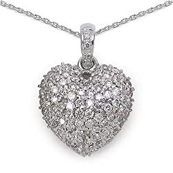 Valentines Gift Heart Shape 1.26CTW Genuine Diamond 18K White Gold Pendant