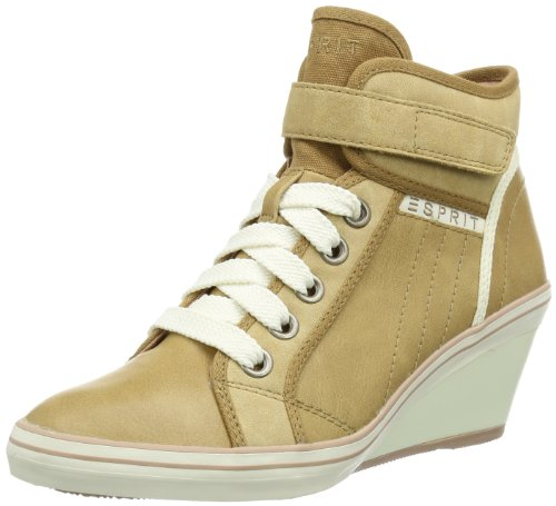 ESPRIT Womens Lexa Tape Wedge Hi-Top Slippers Beige Beige (brittle beige 251) Size: 4 (37 EU)