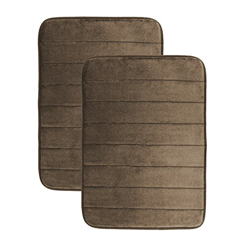 Luxor Linens Luxury Quick Dry Memory Foam Bath Mat Mocha 2 Piece Set. Microdry, Anti Slip Bathroom Floor Mat. Beautiful Addition to Any Bathroom