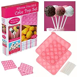 Silicone Non Stick Cake Pop Set Baking Tray Makes Up To 20 CakePops Mould Kids Birthday Party Set Cookware Kit