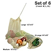 Simple Ecology Organic Cotton Mesh Produce Bag - Set of 6 (2 ea. M, L, XL)