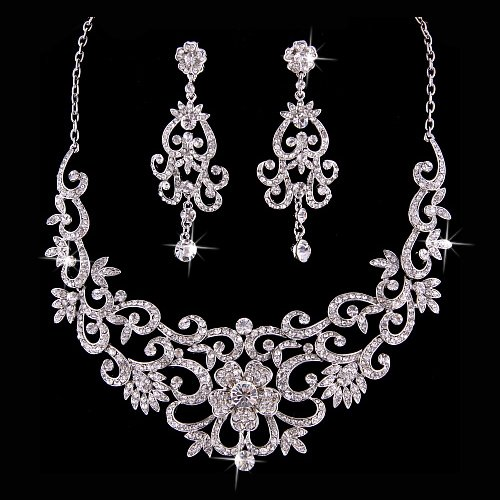 Bridal Wedding Jewelry Set Crystal Rhinestone