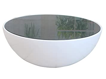 Mod Made Egg Coffee Table, Black Top with White Base