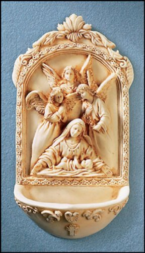 Holy Water Font with St. Mary Surrounded By Angels- Great Wedding Gift for a New Home, Wedding or Christmas