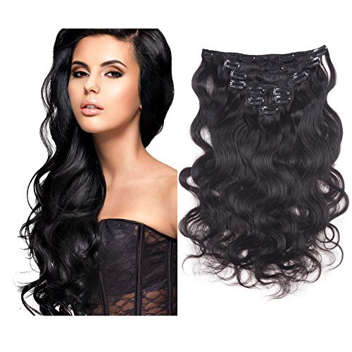Myfashionhair Top Quality 18'' 100% Brazilian Virgin Hair 7pcs Natural Black 1B Body Wave Clip in Hair Extensions (Hair Wave Clips compare prices)